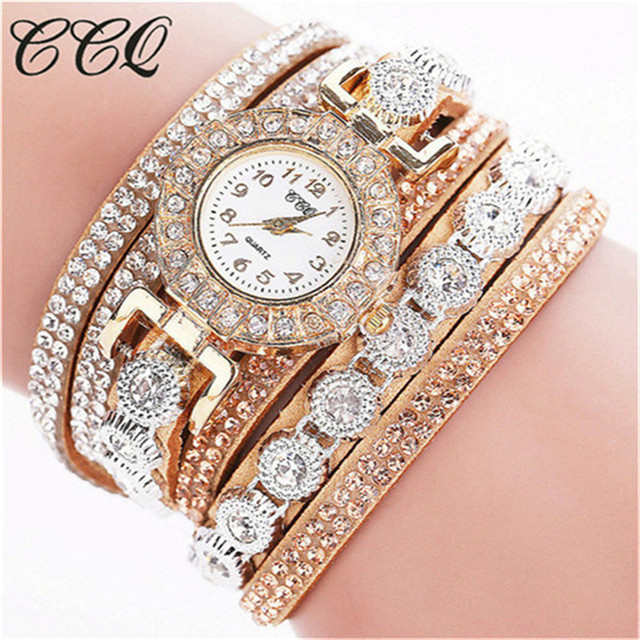 CCQ 2018 Watch Women Bracelet Ladies Watch With Rhinestones Clock Womens Vintage
