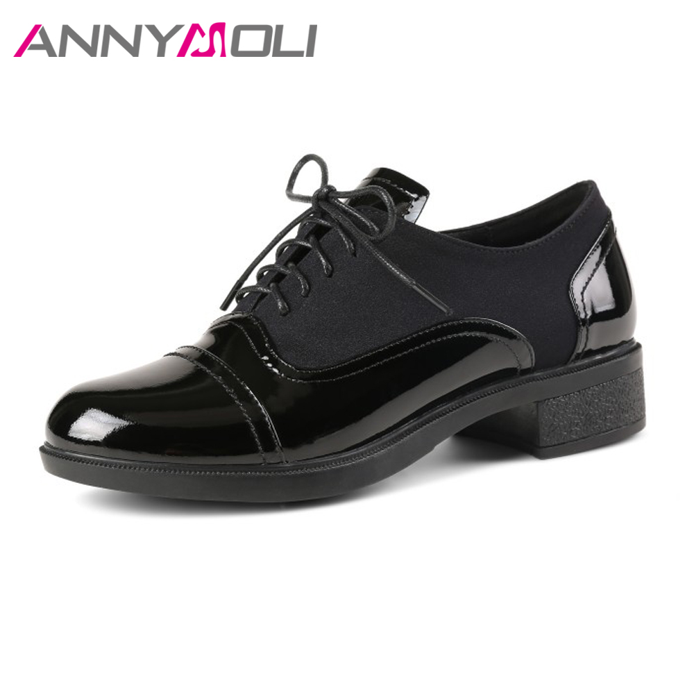 ANNYMOLI Natural Leather Shoes Women Oxfords Flats Patent Leather Shoes Spring 2018 Lace Up Casual Ladies Brogue Shoes Black padegao brand spring women pu platform shoes woman brogue patent leather flats lace up footwear female casual shoes for women