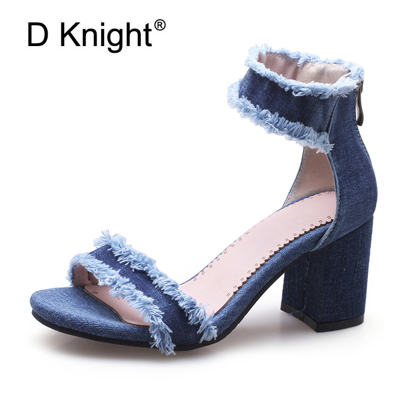 Women Sandals 2018 Fashion Summer Zip Female High Heel Pumps Platform Woman Shoes Denim Canvas Casual Lady Blue Shoes Plus Size xiaying smile summer new woman sandals platform women pumps buckle strap high square heel fashion casual flock lady women shoes page 1
