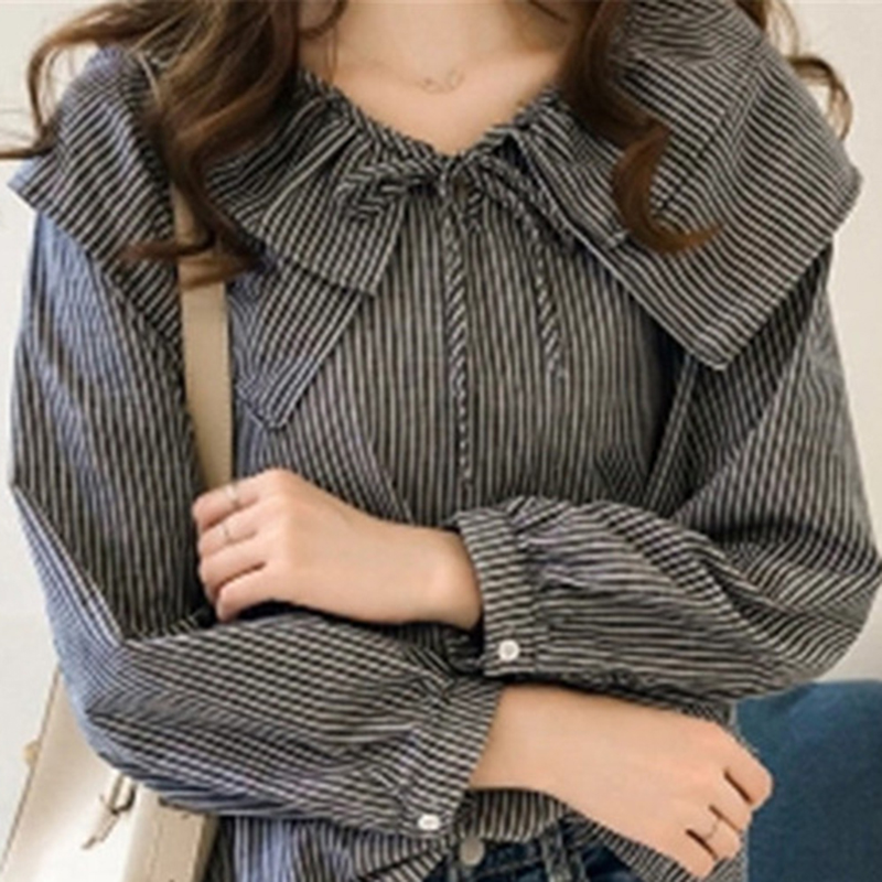 2019 Womens Plus Size Peter Pan Collar Tops And Blouses Ladies Casual Bowknot Long Sleeve Oversized Striped Shirts Blusas Mujer 9