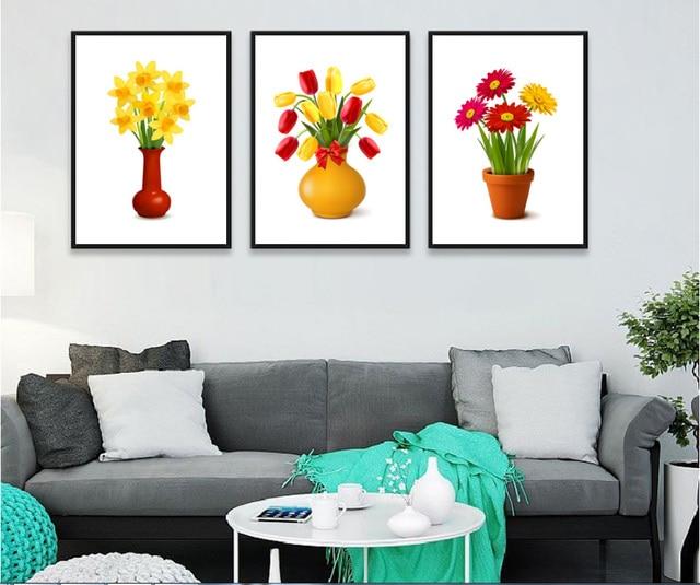 3 Pezzi Bella Fiori In Vaso Piante Fiori Quadri Senza Cornice Pittura  Decorativa Decorazione Per Soggiorno