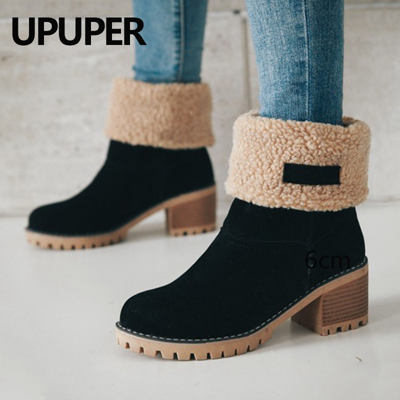 Winter Boots Women Female Fur Warm Snow Boots Winter Fashion Square High Heels Shoes Woman Ankle Boots Black Green Botas Mujer все цены