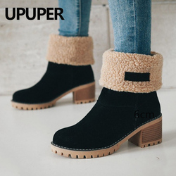 Winter Boots Women Female Fur Warm Snow Boots Winter Fashion Square High Heels Shoes Woman Ankle Boots Black Green Botas Mujer