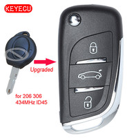 Keyecu Upgraded Flip Remote Control Fob 434MHz ID45 Chip for Peugeot 206 306 from 1998 Uncut Blade Car Key