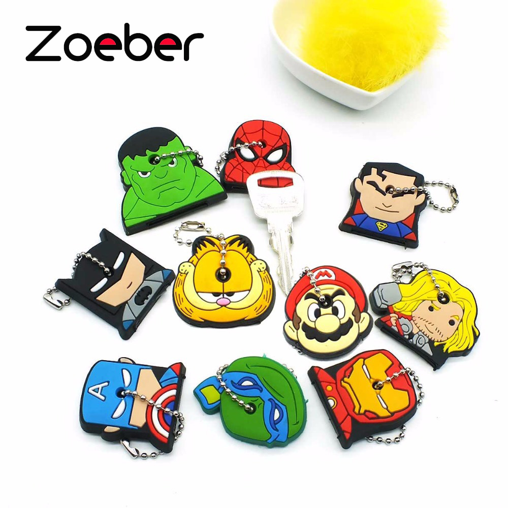 Amiable Zoeber Anime Cartoon Key Cover Cute Garfield Owl The Avengers Alliance Hero Keychain Silicone Holder Key Ring Cat Cap Chain Perfect In Workmanship