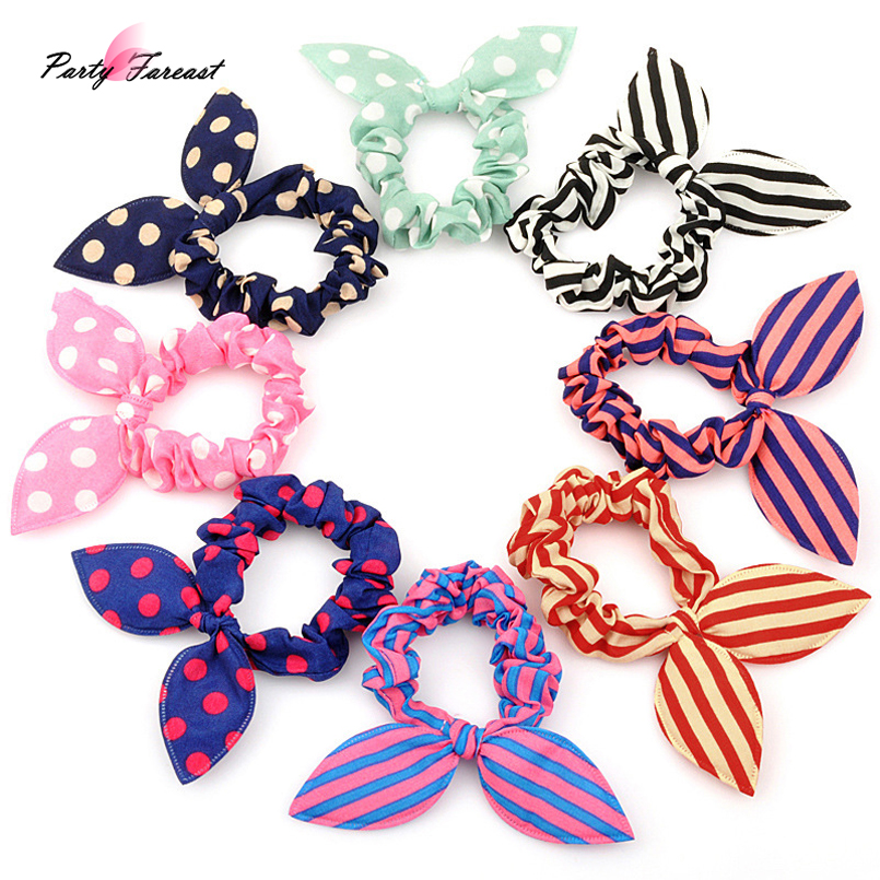 PF 10pcs Rabbit Ear Hair Band Elastic Hair Bands for Women Girls Kids Children Scrunchie Ponytail Hair Accessories Headdress