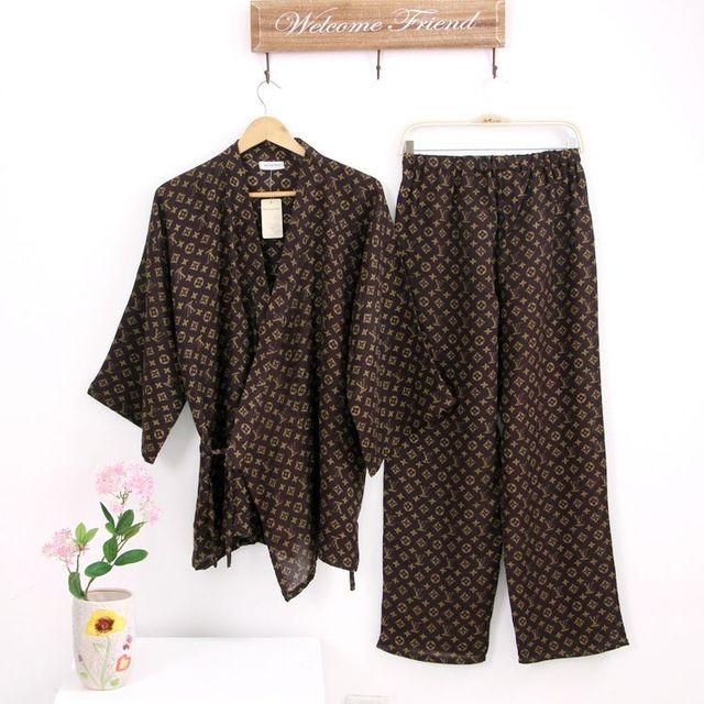 2016 летом горячей продажи Хлопка с коротким рукавом пижамы мужчин простые мужские Японские кимоно pijama hombre pajama наборы мужской 110603
