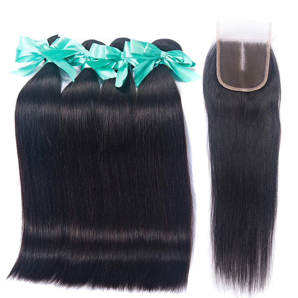 Brazilian Straight Hair Bundles With Closure 3 Bundles 100 Human Hair Weave Bundles With Closure Brazilian