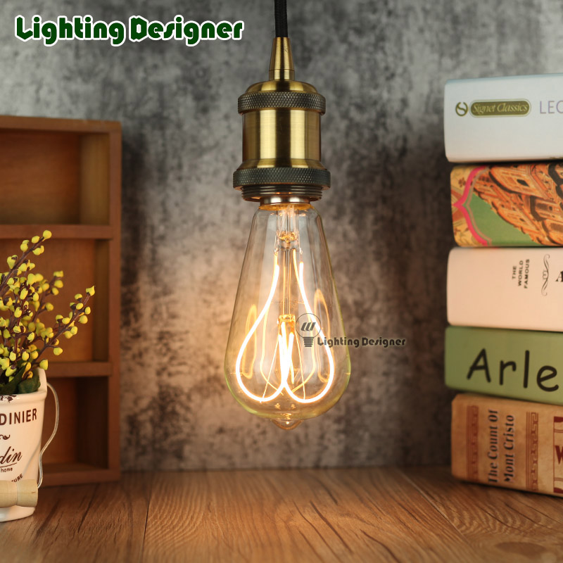 ST64 LOVE Vintage led edison filament bulb New design golden e27 led dimmable LED light clear glass 220V 4W energy saving lamp edison led filament bulb g125 big global light bulb 2w 4w 6w 8w led filament bulb e27 clear glass indoor lighting lamp ac220v