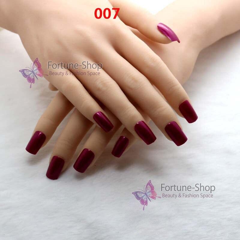 TKGOES 24pcs/set Candy Color Nails Art Products False French Nail ...