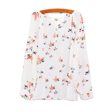 New T-shirt Women Summer Casual Long SleeveT shirt Chemise Femme Tether Chiffon Floral T-Shirt Femme July29