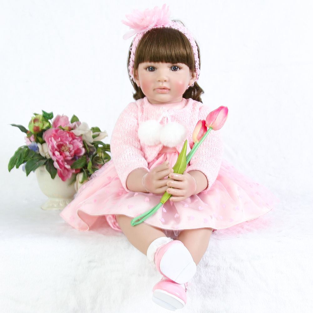 Collectible Pink Baby Alive Doll Silicone Reborn Toddler Princess Girl Dolls for Children Girls Boys Christmas Gift Dolls Toys collectible washable full body vinyl silicone reborn toddler princess girl baby alive doll toys for children birthday gift dolls