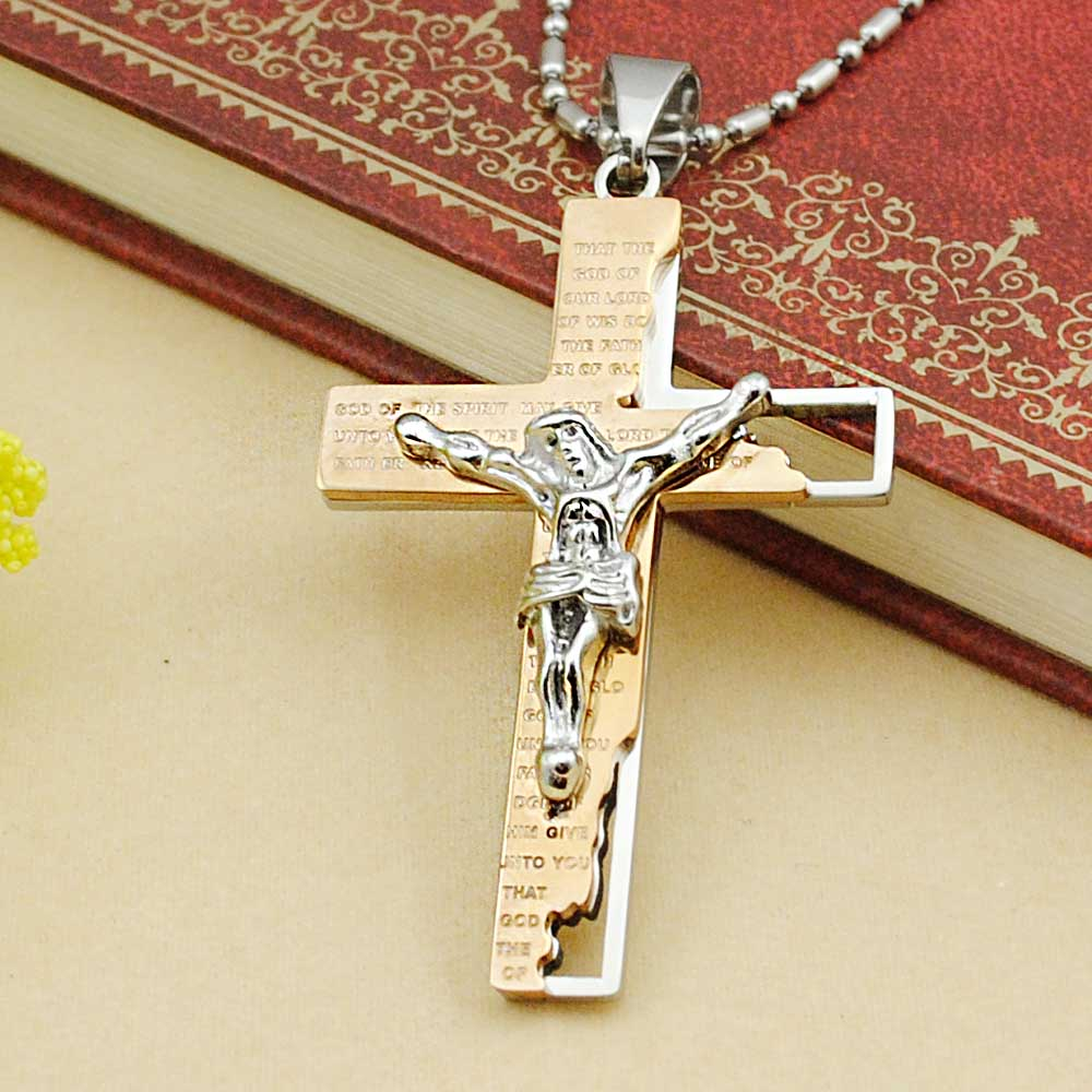 jsp prd steel wid stainless sharpen crucifix two men tone mens op s pendant hei product