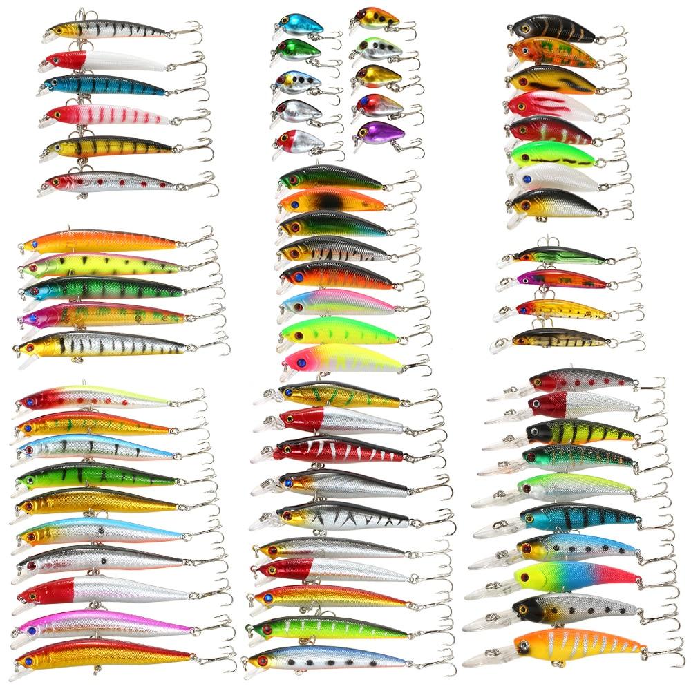 65/68/71 pièces Kit de leurre de pêche méné leurres de poisson Set appâts artificiels leurre dur appât bar pour matériel de pêche de la carpe Pesca