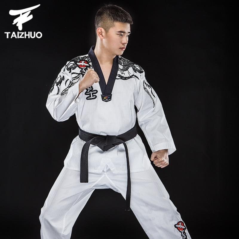 WTF dobok enfant adulte étudiant costume taekwondo uniforme noir