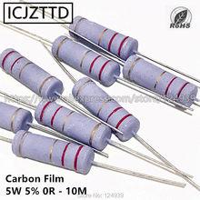 10 pçs 5w 5% 5w resistor de filme de carbono 5% 360 k 390 k 430 k 470 k 510 k 560 k 620 k 680 k 750 k 820 k 910 k 1.2 k 1 m 1.5 m 1.8 m m 2 m 2.2 m 2.4 m