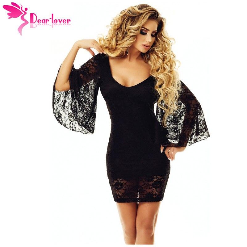 95da0bd7505a Querido amante Vestido de Otoño de 2018 mujeres Sexy de fiesta negro de  manga de campana de espalda ...