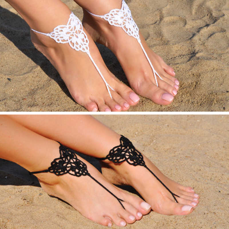 1 Pairs Trendy Handmade Crochet Barefoot Sandals Beach Yoga Anklet Jewelry Geometric Pattern Bridal Wedding Anklet Accessories