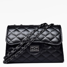 Fashion Women Shoulder Bags 2019 New Style Crossbody bag Ladies handbags Casual Chain Flap bags PU Leather Black