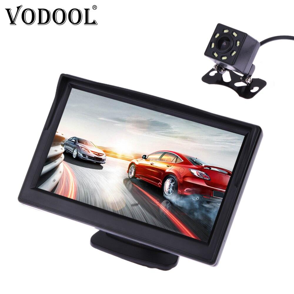 Система камеры заднего вида VODOOL, для парковки, с 5-дюймовым TFT ЖК-экраном и водонепроницаемой камерой с ночным виденьем