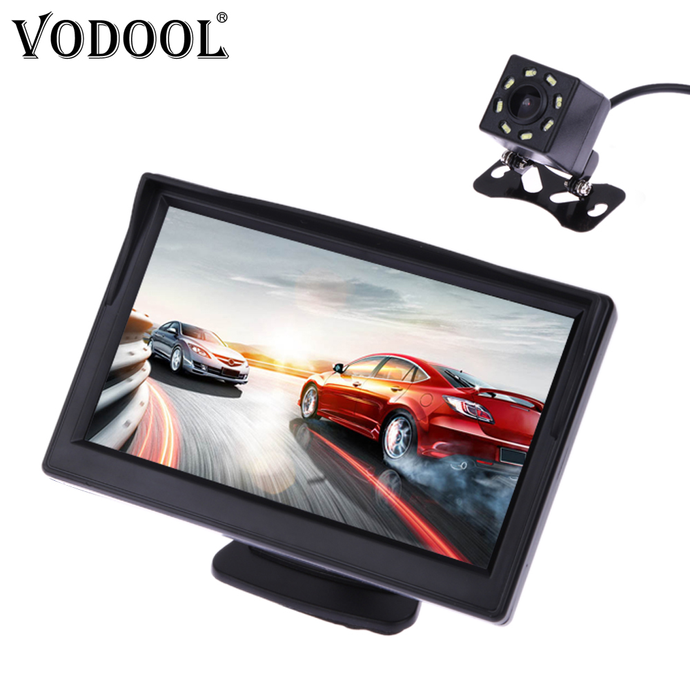 VODOOL vista trasera de coche cámara de marcha atrás sistema de aparcamiento Kit de 5 pulgadas TFT LCD Monitor retrovisor impermeable visión nocturna cámara de respaldo