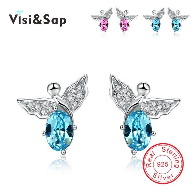 Anjo Lindo Azul e Rosa de cristal Do Parafuso Prisioneiro do vintage Brincos 925 prata Esterlina jóias presentes Do Partido para Jóias Finas B456
