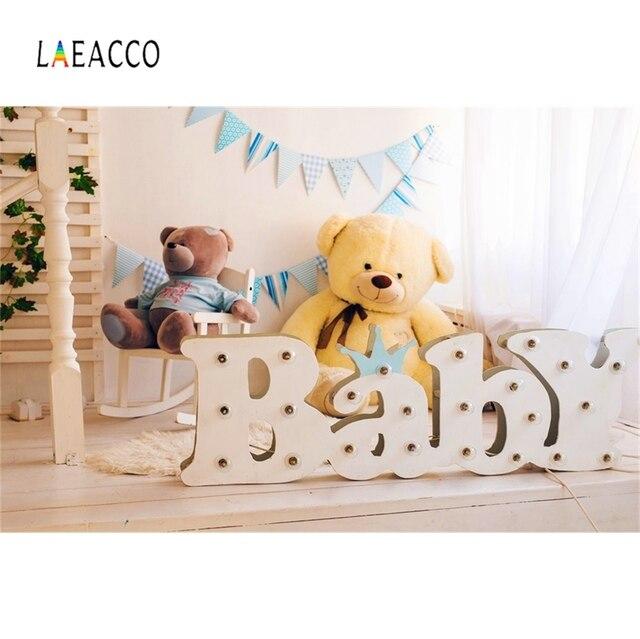 Laeacco Photo Backdrop Boudoir Teddy Bear Toy Baby Curtain Flag Party Room Interior Photo Backgrounds Photocall Photo Studio