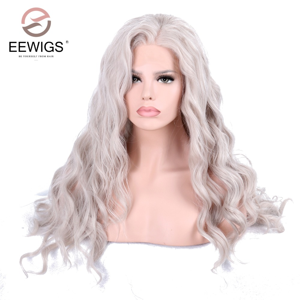 Onda Do Corpo Peruca Dianteira Do Laço sintético Longo Cinza Branco Perucas para As Mulheres Brancas Parte Do Meio Artificial Peruca Cosplay Cabelo Pesado