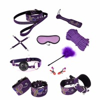 Adult Games PU Leather With Realistic Diamond Bondage Set Kit 10pcs/set Red Purple Sex Fetish Toy Tools For Couples