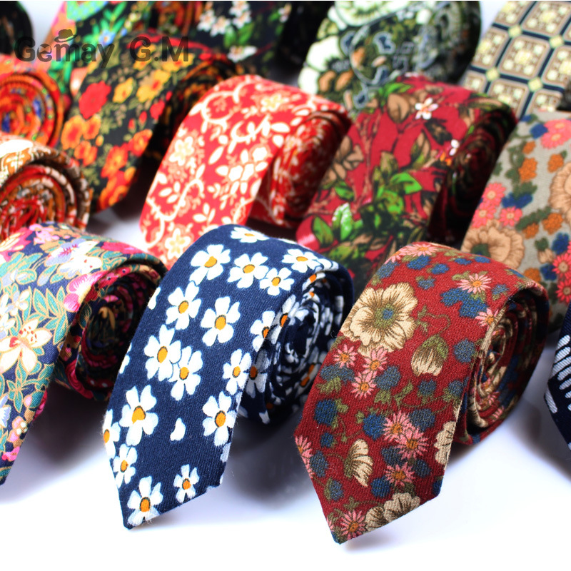 Brand Wedding Cotton Floral Ties For Men Suit Skinny Mens Ties Gravatas Slim Corbatas Vestidos Neck Tie Cravat Grooms Necktie