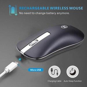 Image 2 - Mouse Wireless Bluetooth Mouse da gioco silenzioso Mouse ricaricabile per Computer Mouse Wireless ergonomico da 2.4Ghz Mouse per PC USB Mause per Laptop