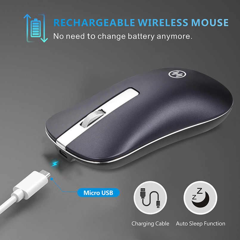 Ratón inalámbrico Bluetooth ratón silencioso para juegos ratón recargable inalámbrico de ordenador 2,4 Ghz ratón ergonómico para ordenador portátil