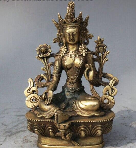 SUIRONG---524+++Tibet Buddhism Bronze Green Tara Mahayana Buddhism enlightenment Goddess Statue statue
