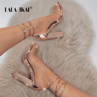 LALA IKAI Women Heeled Sandals Bandage Rhinestone Ankle Strap Pumps Super High Heels 11 CM Square Heels Lady Shoes 014C1931 4