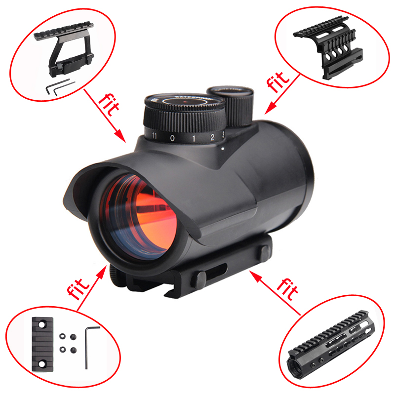 Red Dot Sight Scope Holographic 1 X 30mm 11mm & 20mm Weaver Rail Mount For Tactical Hunting Double Side AK Scope Sight Mounts