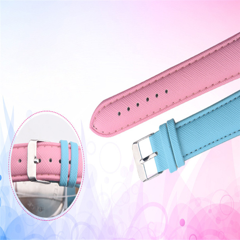 Fashion Women Retro Rainbow Design Leather Band Analog Alloy Quartz Wrist Watch High Qulity Hot Sale Montre Femme Vintage M3