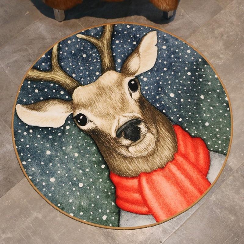 1 Pcs Cute Cartoon Bathroom Carpet Christmas Decor Floor Mat Dia 60/80/100cm Anti-Slip Bedroom Carpet Living Room Rug tapetes