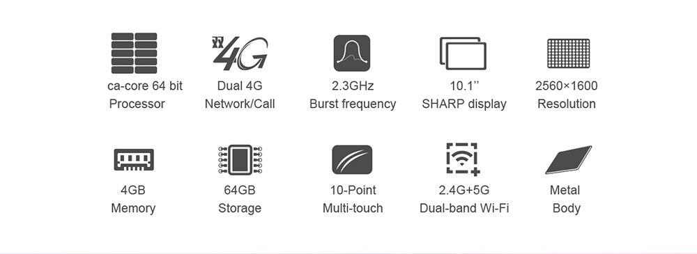 Teclast M20 Dual 4G Phone Tablet PC  MT6797 X23 Deca Core 4GB RAM 64GB ROM Android 8.0 10.1 inch 2560*1600 Dual Wifi GPS Phablet