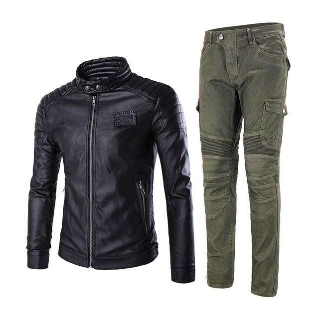 2019 New Motorcycle Jacket + Motorcycle Pants Men Moto Jeans Protective Gear Riding Motorbike Motocross Pantalon Moto Pants #