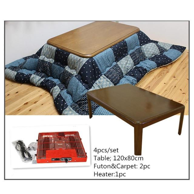 (4pcs/set) Japan Furniture Kotatsu Set Rectangle 120cm Wooden Table Futon&Carpet Heater Japanese Style Living Room Center Table
