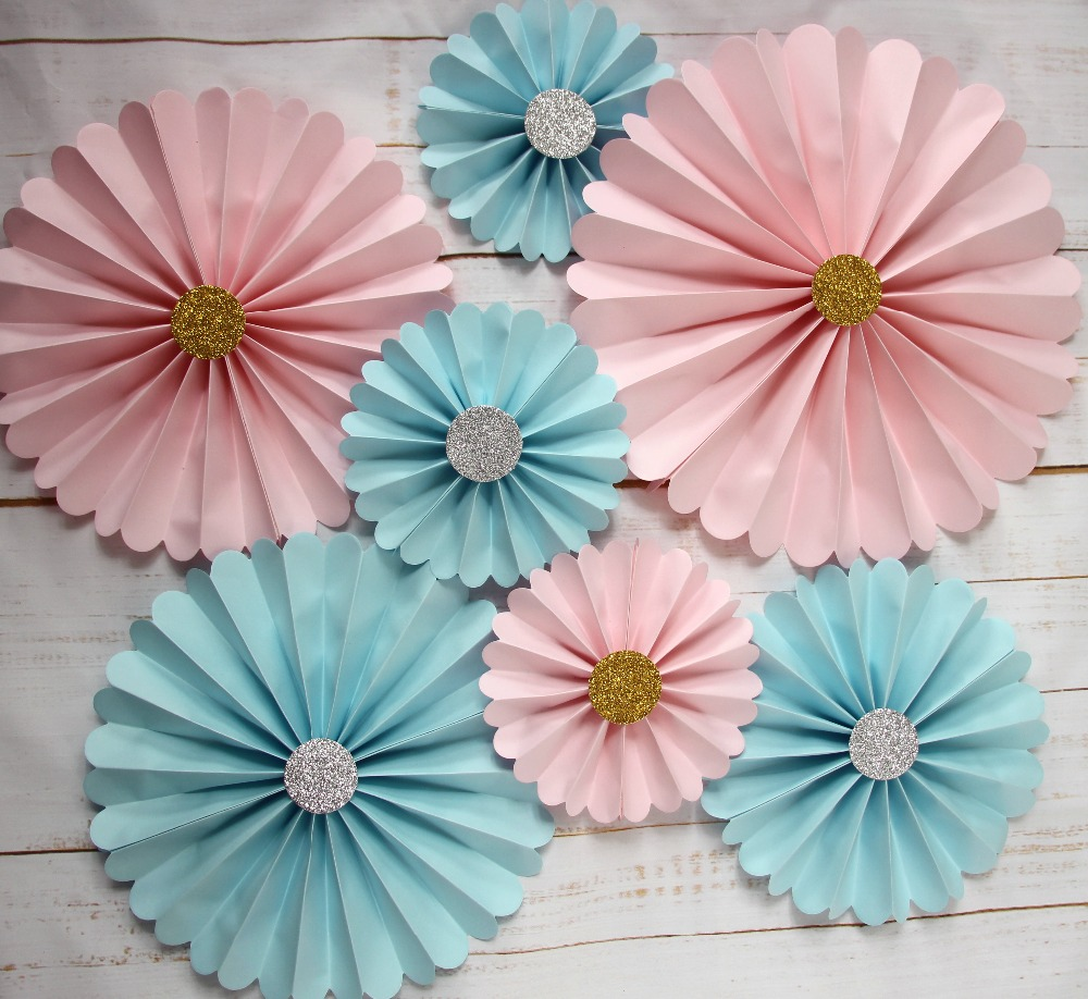 Pink Paper Fan Decorations, Blue Pinwheels Party