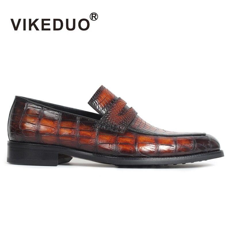 Vikeduo 2019 nuevos zapatos de cuero auténtico de cocodrilo para hombre, zapatos 100% auténticos de deslizamiento de cocodrilo, de lujo, diseño Original Casual