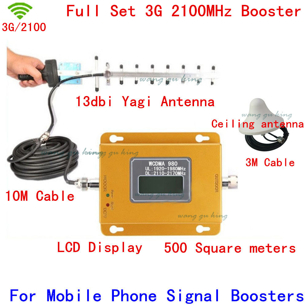 Full Set LCD Display 3G W-CDMA 2100MHz Cell Phone Signal Booster 3G 2100 UMTS Signal Repeater Amplifier Yagi Antenna + Cable