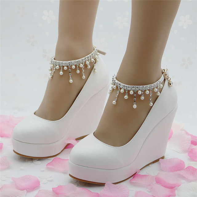 Wedding Style Women Wedges High Heels Shoes Ladies High Heel  Women's Diamond Lace Platform Wedges Shoes For Women