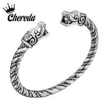 Chereda Twist Shape Bangle Snake Head Metal Slavic Viking Bangles Handmade Bracelets Men Jewelry Birthday Gift
