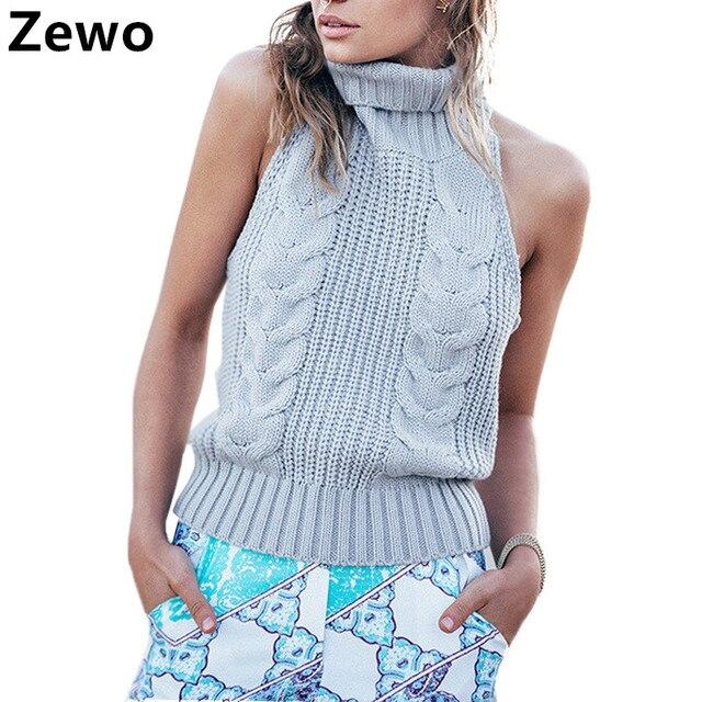 low priced 1720e bcc80 US $28.18  Zewo Sommer Rollkragen Strickpullover Damen Sexy Sleeveless  Backless Pullover Und Pullover Weibliche Warme Jumper 2017 Pull Femme in  Zewo ...