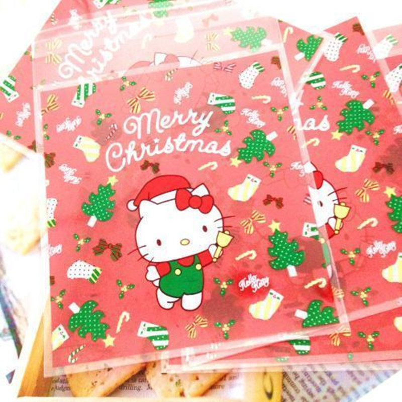 100pcs Christmas Kitty Cat Self Adhesive Seal Cellophane Cookie Bag For Bakery Gift Candy Biscuits Chocolate Packaging