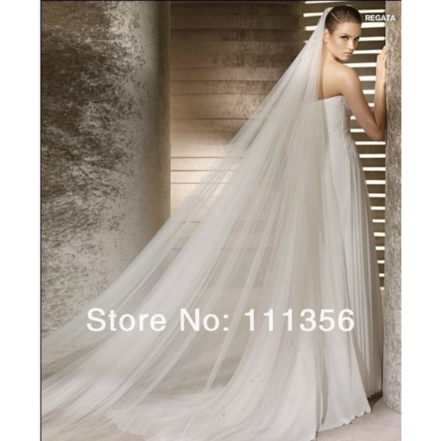 Layer 2 soft tulle white Ivory 4M wedding accessories bridal veil Cathedral with comb