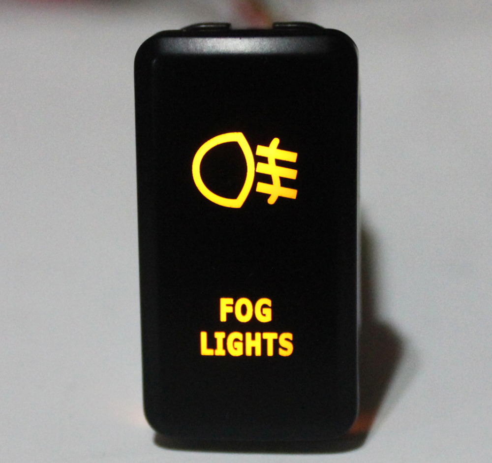FOG LIGHTS Push Button Switch Orange LED For Toyota Landcruiser Hilux FJ Cruiser ON OFF Switch With Wire 12 Volt 3Amp