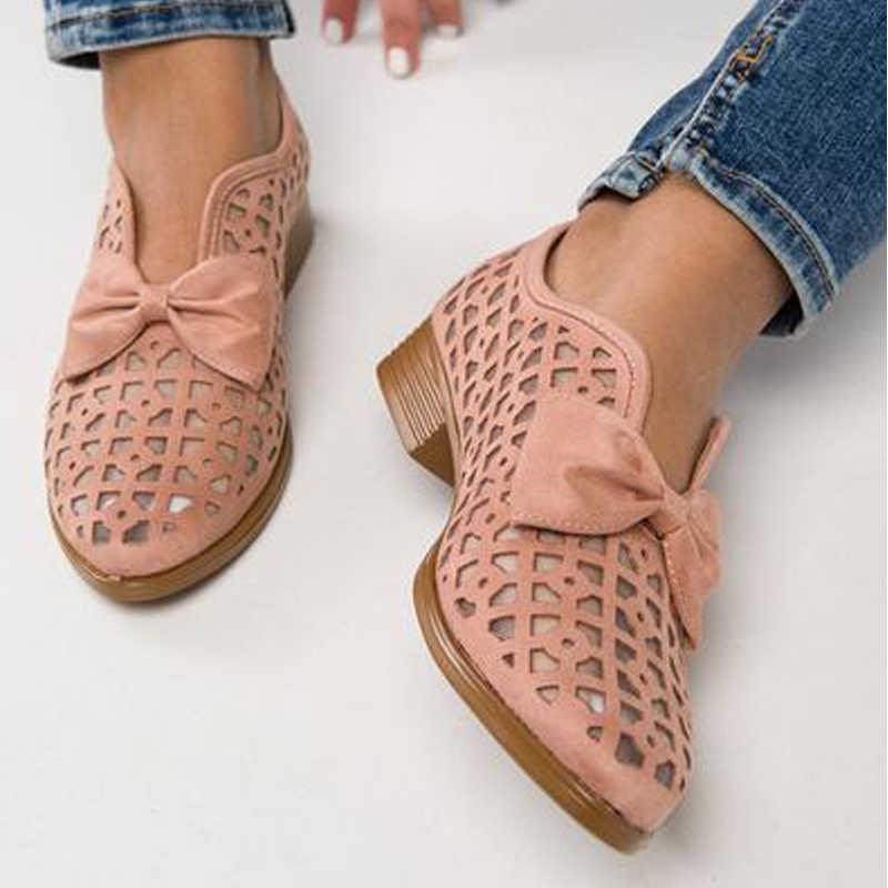 2019 Bowtie femmes chaussures bout pointu pompes chaussures pour femme plate-forme sans lacet mocassins en cuir PU Feminino Zapatos De Mujer